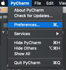 Figure 3 : Pycharm preferences